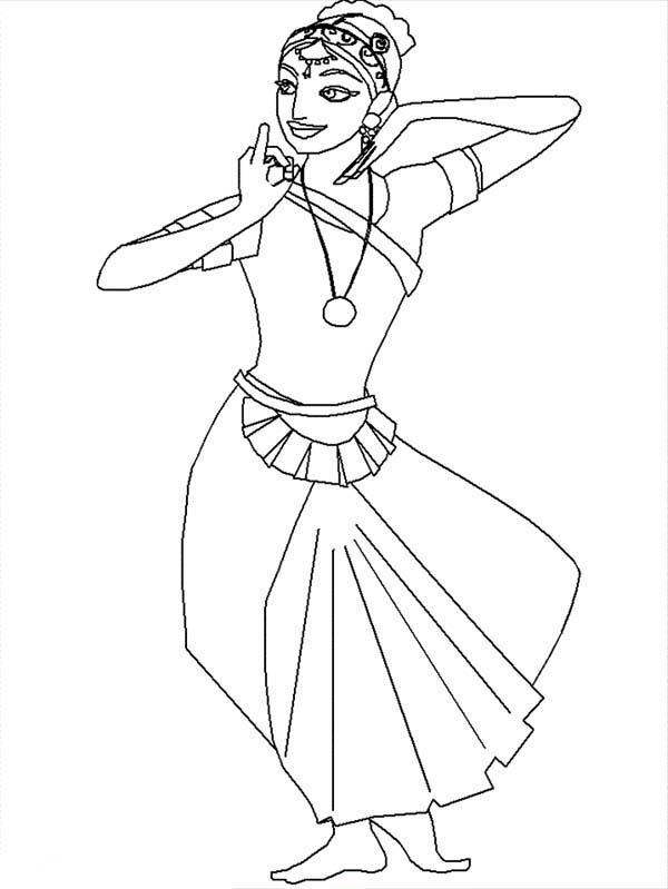 Beautiful Ladies, : Indian Dancer Beautiful Ladies Coloring Page