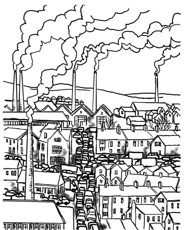 City, : Industrial City Coloring Page