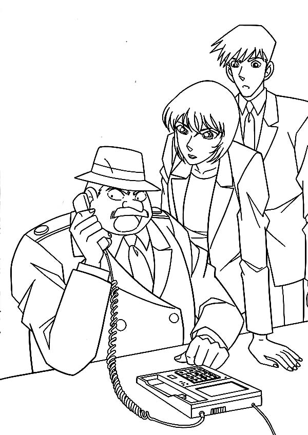 Detective Conan, : Inspector Megure Receive Call from Detective Conan Coloring Page