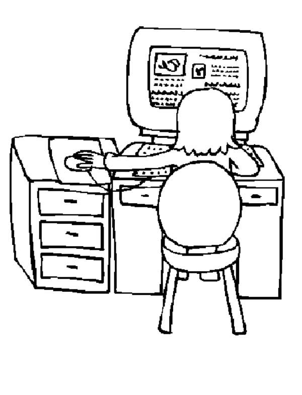 Computer, : Interner Surfing with Computer Coloring Page
