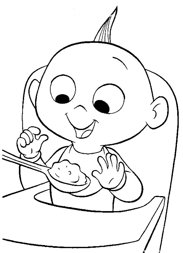 Breakfast, : Jack Jack the Incredibles Baby Breakfast Coloring Page