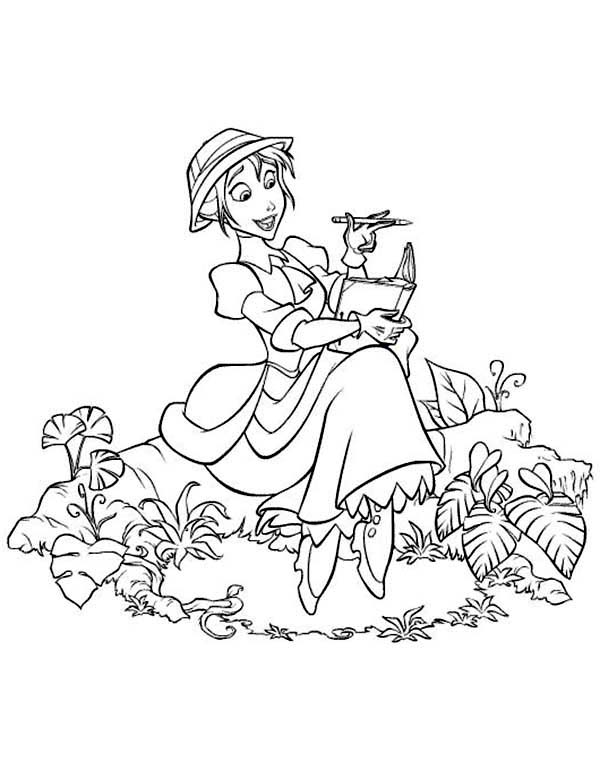 Tarzan, : Jane Writing in the Middle of Forest Disney Tarzan Coloring Page