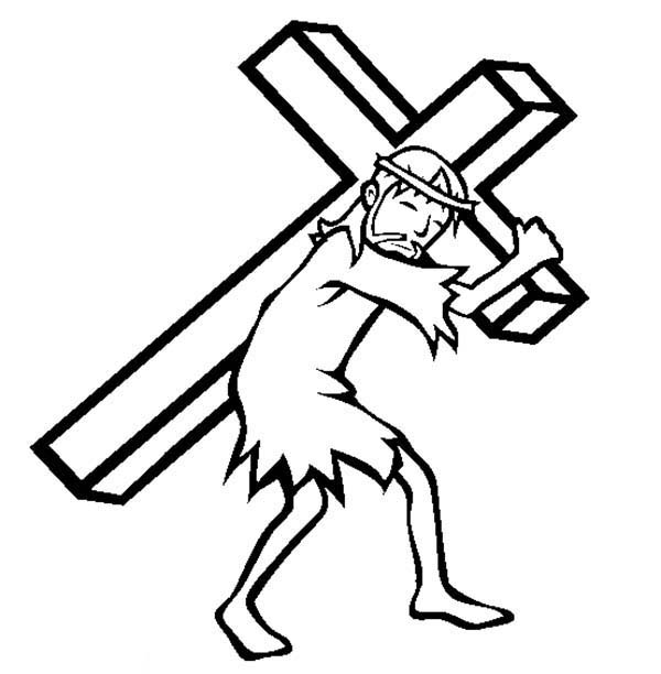 jesus carrying cross upon his shoulder coloring page