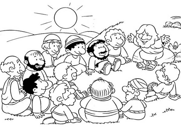 Jesus Gather with His Disciples Coloring Page  Coloring Sun
