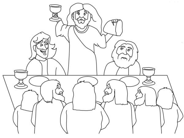 Disciples, : Jesus Lift Bread and Holy Grail in Front of His Disciples Coloring Page