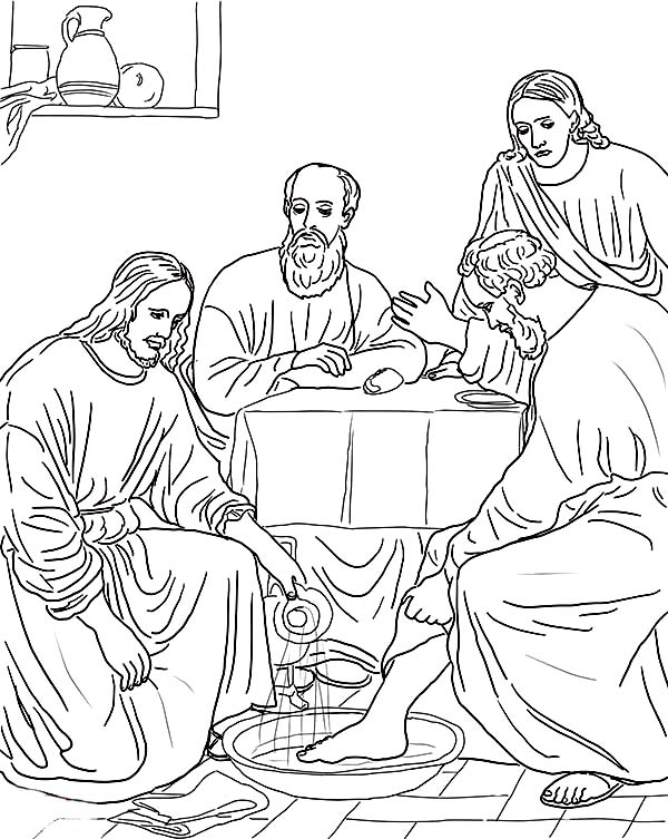 Jesus Washing the Disciples Feet Coloring Page | Coloring Sun