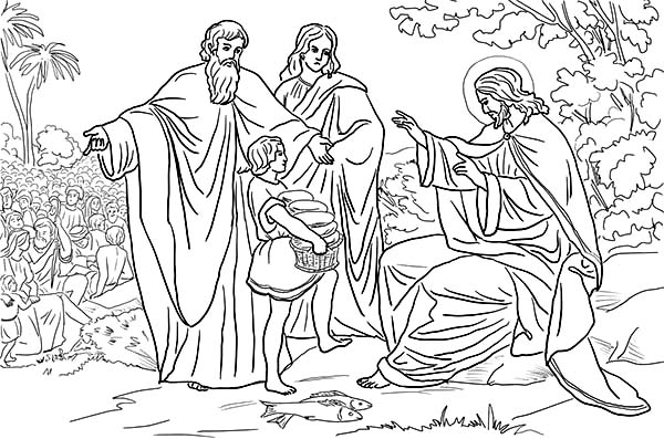 Disciples, : Jesus and Disciples Feeds 5000 People Coloring Page