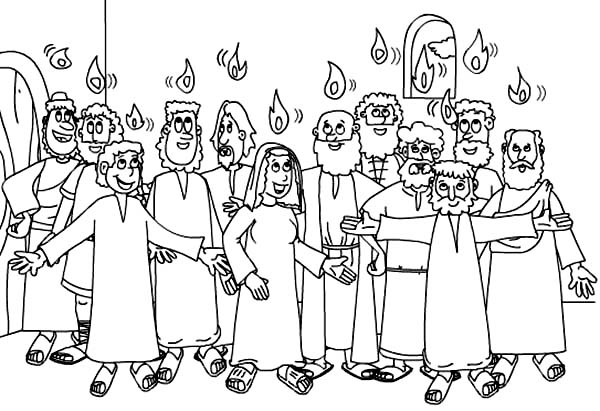 Disciples, : Jesus and Disciples in Pentecostes Coloring Page