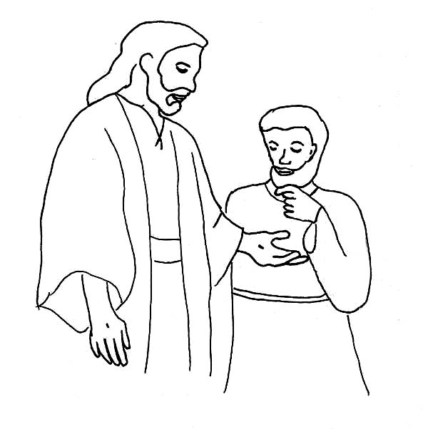 Disciples, : Jesus and His Disciples Believing Thomas Coloring Page