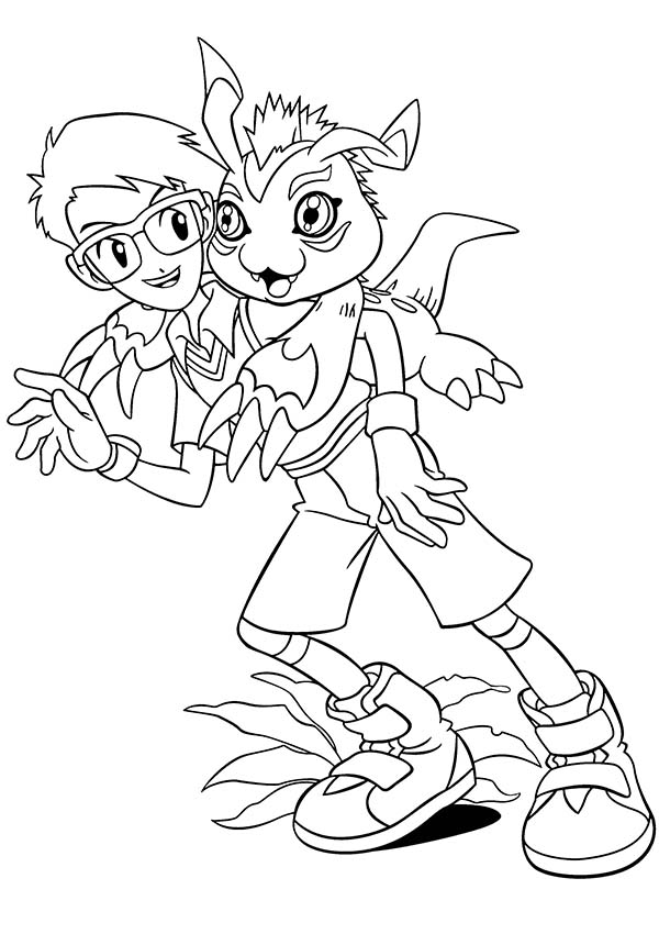 Digimon, : Joe Kido and His Digimon Gomamon Coloring Page