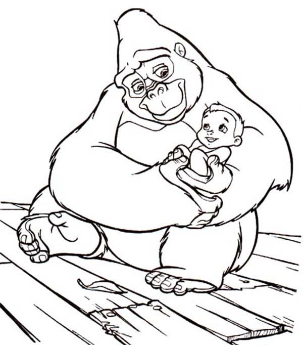Tarzan, : Kala Carrying Little Tarzan Coloring Page