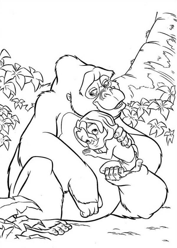 Tarzan, : Kalas Warm Hug for Little Tarzan Coloring Page
