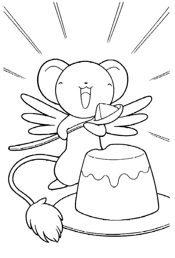 Cardcaptor Sakura, : Keroberos Eat Sweet Pudding in Cardcaptor Sakura Coloring Page