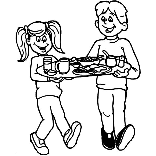 Breakfast, : Kids Carrying Their Breakfast Coloring Page