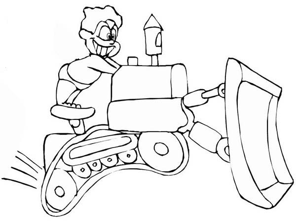 Bulldozer, : Kids Riding Mad Bulldozer Coloring Page
