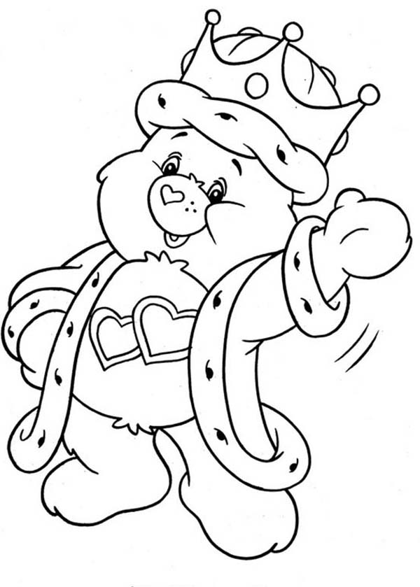 King Love a Lot Bear from Care Bear Coloring Page | Coloring Sun
