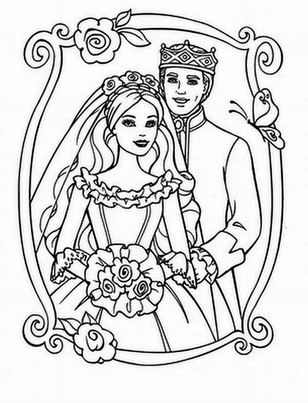Wedding, : King and Queen Wedding Day Coloring Page