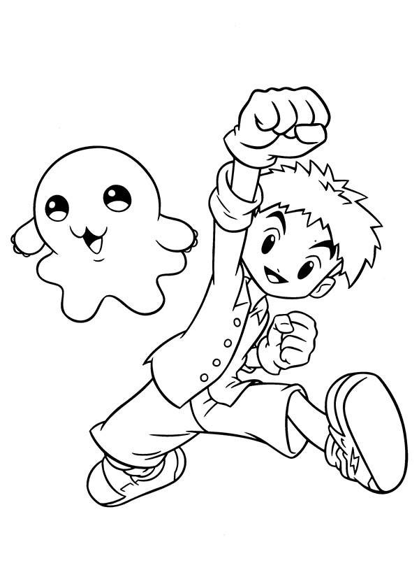 Digimon, : Koushiro Izumi and His Digimon Motimon Coloring Page