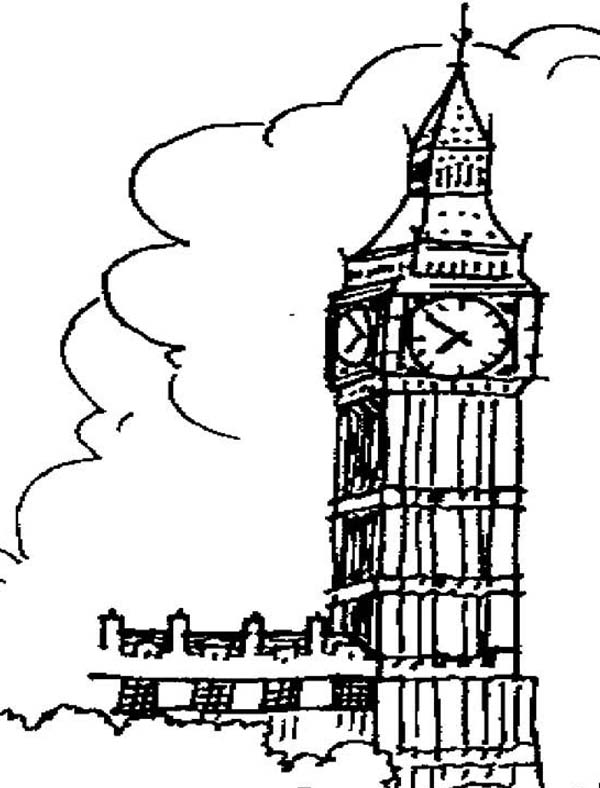 Big Ben, : Landmark of London Big Ben Coloring Page