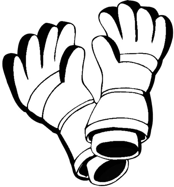Winter Clothing, : Leather Gloves in Winter Clothing Coloring Page