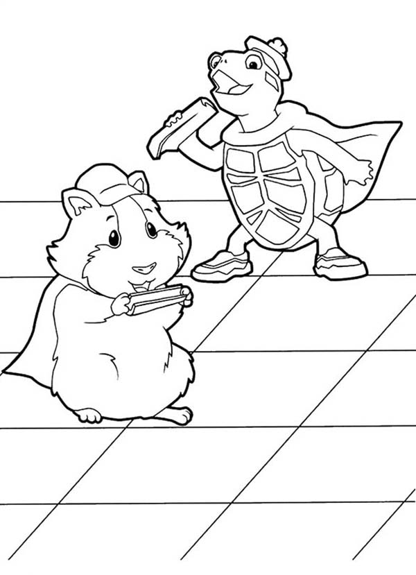 The Wonder Pets, : Linny and Turtle Tuck Eating Vegetables in Wonder Pets Coloring Page