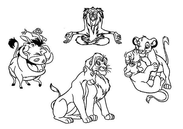 Timon and Pumbaa, : Lion King Characters with Timon and Pumbaa Coloring Page