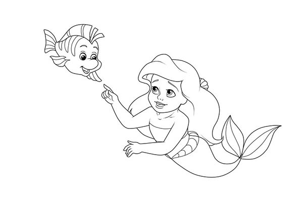 Ariel Little And Baby Flounder Coloring Page