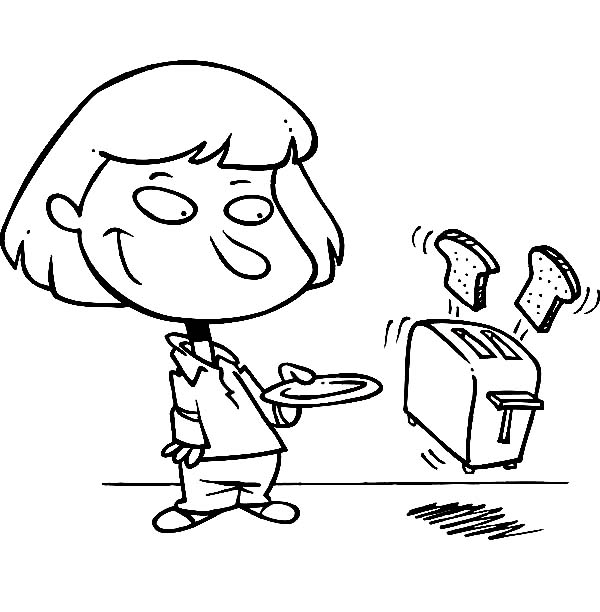 Breakfast, : Little Girl Having Toaster for Breakfast Coloring Page