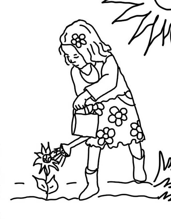Watering Can, : Little Girl Using Watering Can Coloring Page