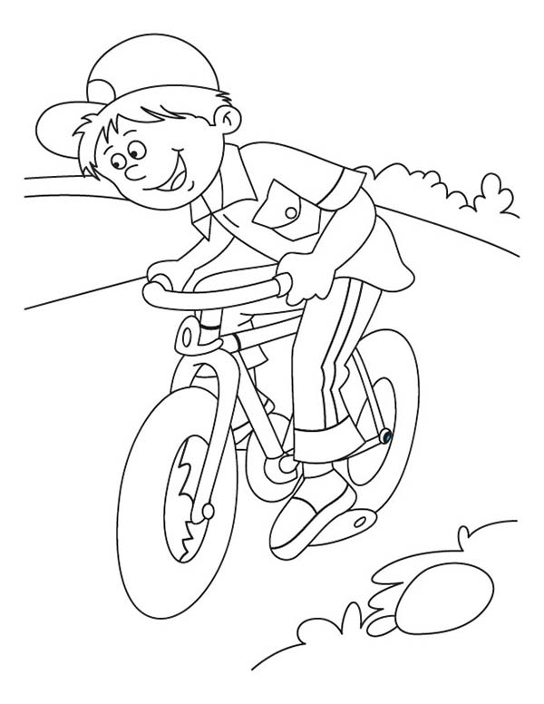 Bicycle, : Little Kid Learn to Ride Bicycle Coloring Page