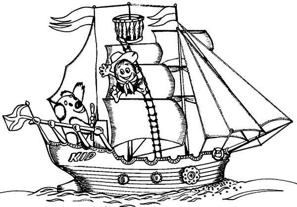Boat, : Little Kid and Teddy Bear Sail the Sea on Boat Coloring Page