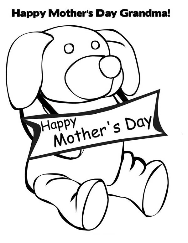 Mothers Day, : Little Puppy Happy Mothers Day Coloring Page