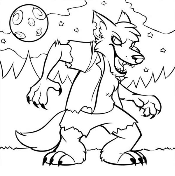 Werewolf, : Little Werewolf in the Night Coloring Page