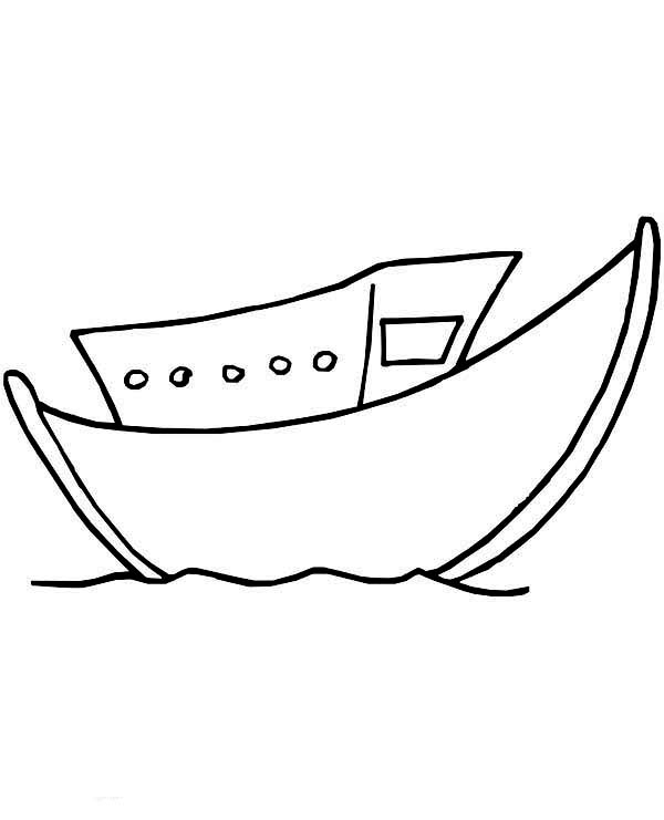 Boat, : Little and Simple Boat Coloring Page