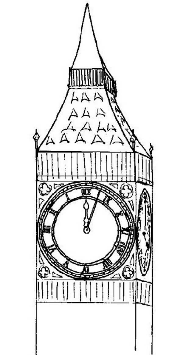 Big Ben, : London Icon Big Ben Coloring Page