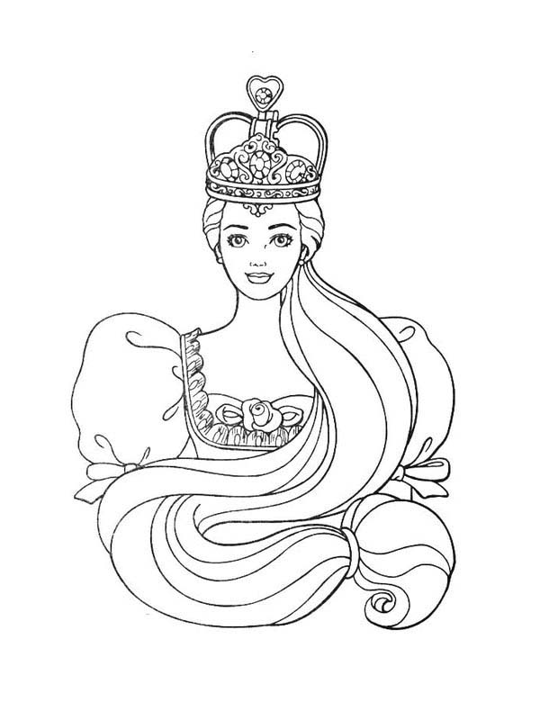 Barbie Princess, : Lovely Barbie Princess Wear Beautiful Crown Coloring Page