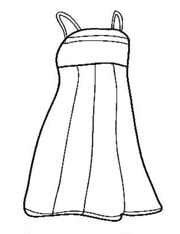 Dress, : Lovely Evening Dress Coloring Page