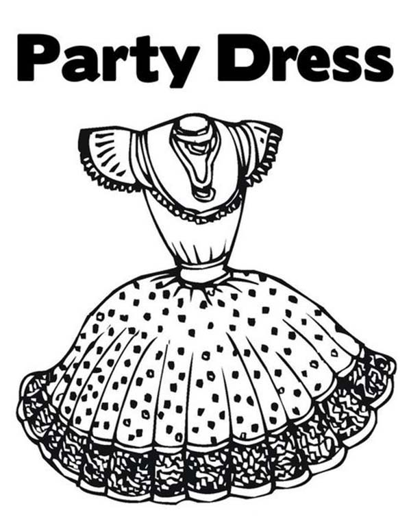 Dress, : Lovely Party Dress Coloring Page