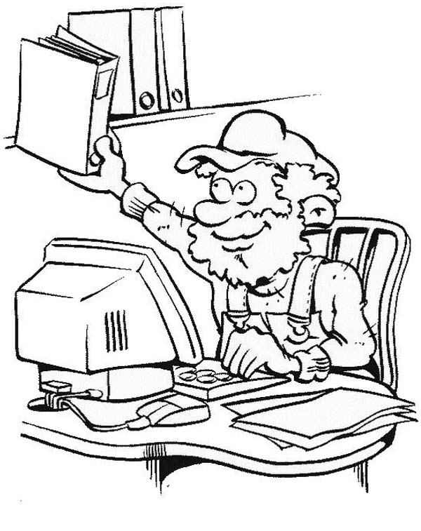 Computer, : Making Office File with Computer Coloring Page