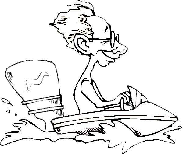 Boat, : Man Ride Motor Boat Coloring Page