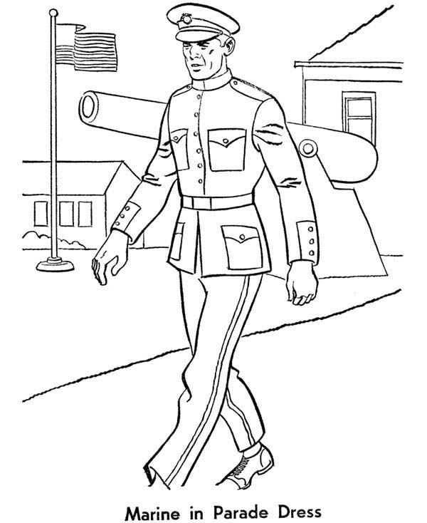 Armed Forces Day, : Marine in Parade Dress in Armed Forces Day Coloring Page