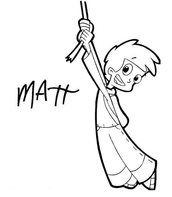 Cyberchase, : Matt Hanging on One Tiny Ropw in Cyberchase Coloring Page