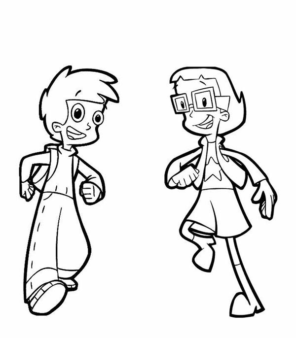 Cyberchase, : Matt and Inez from in Cyberchase Coloring Page