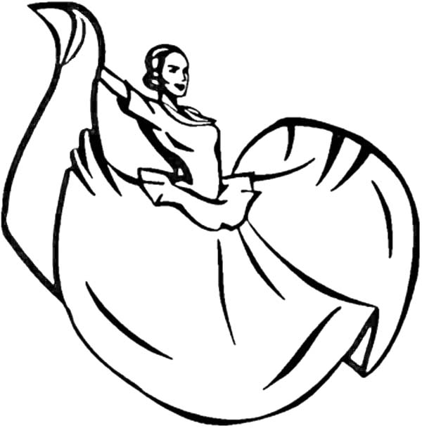 Dance, : Mexican Woman Performing Mexican Traditional Dance Coloring Page