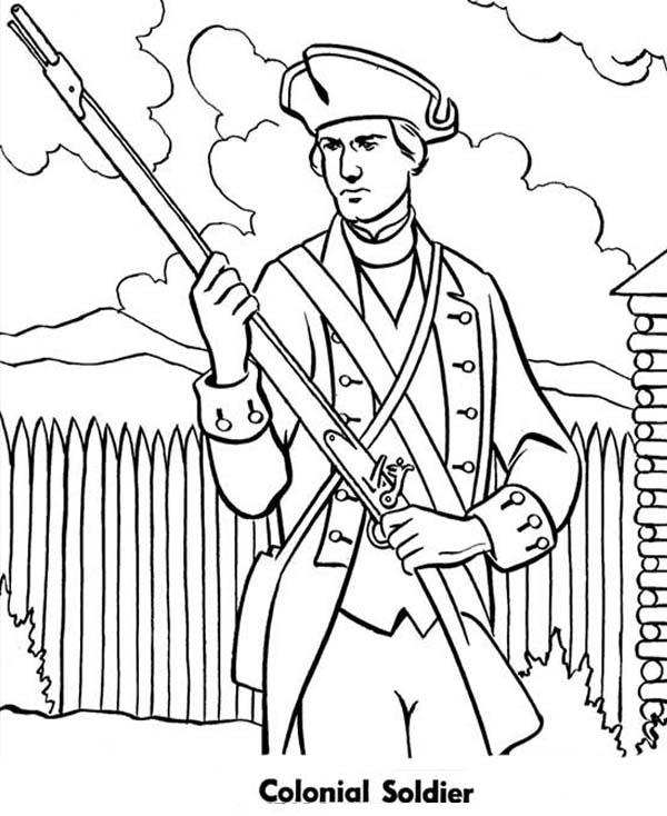 Armed Forces Day, : Military Colonial Soldier in Armed Forces Day Coloring Page