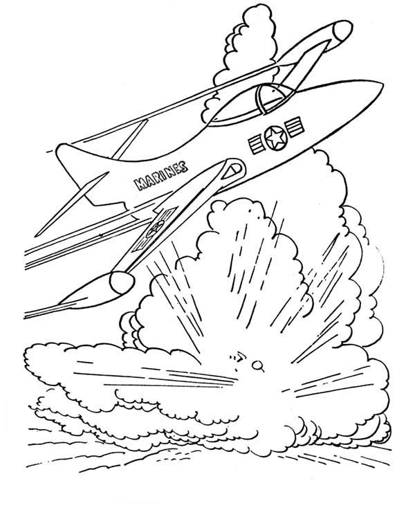 Armed Forces Day, : Military Jet Bomber in Armed Forces Day Coloring Page