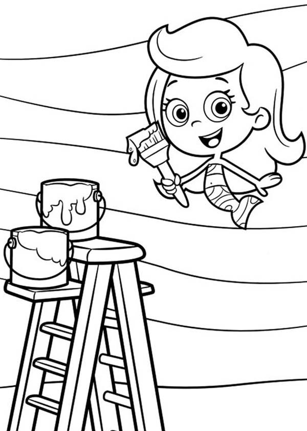 Bubble Guppies, : Molly Paint Wall in Bubble Guppies Coloring Page