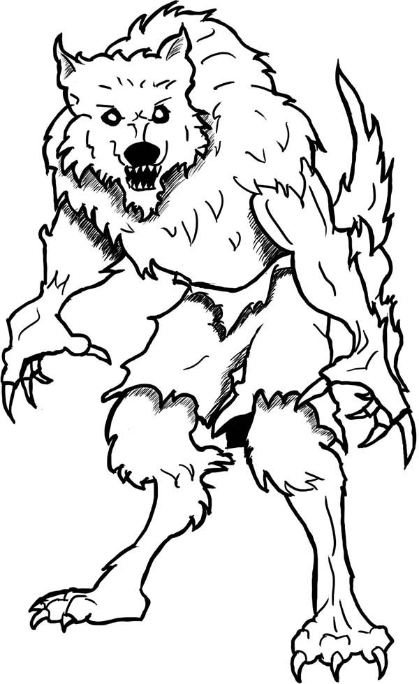 Werewolf, : Monster Werewolf Coloring Page