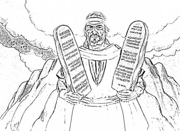 Ten Commandments, : Moses Come Down from Mount Sinai with Ten Commandments Coloring Page