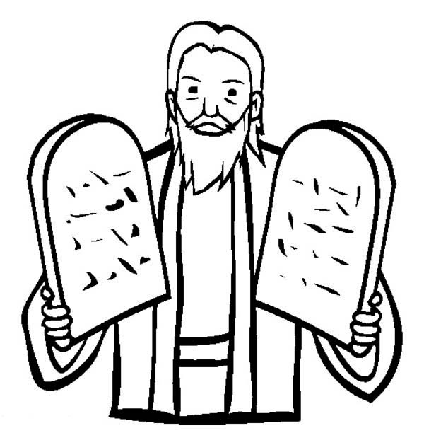 Ten Commandments, : Moses Hold Two Stone Tablet about Ten Commandments Coloring Page